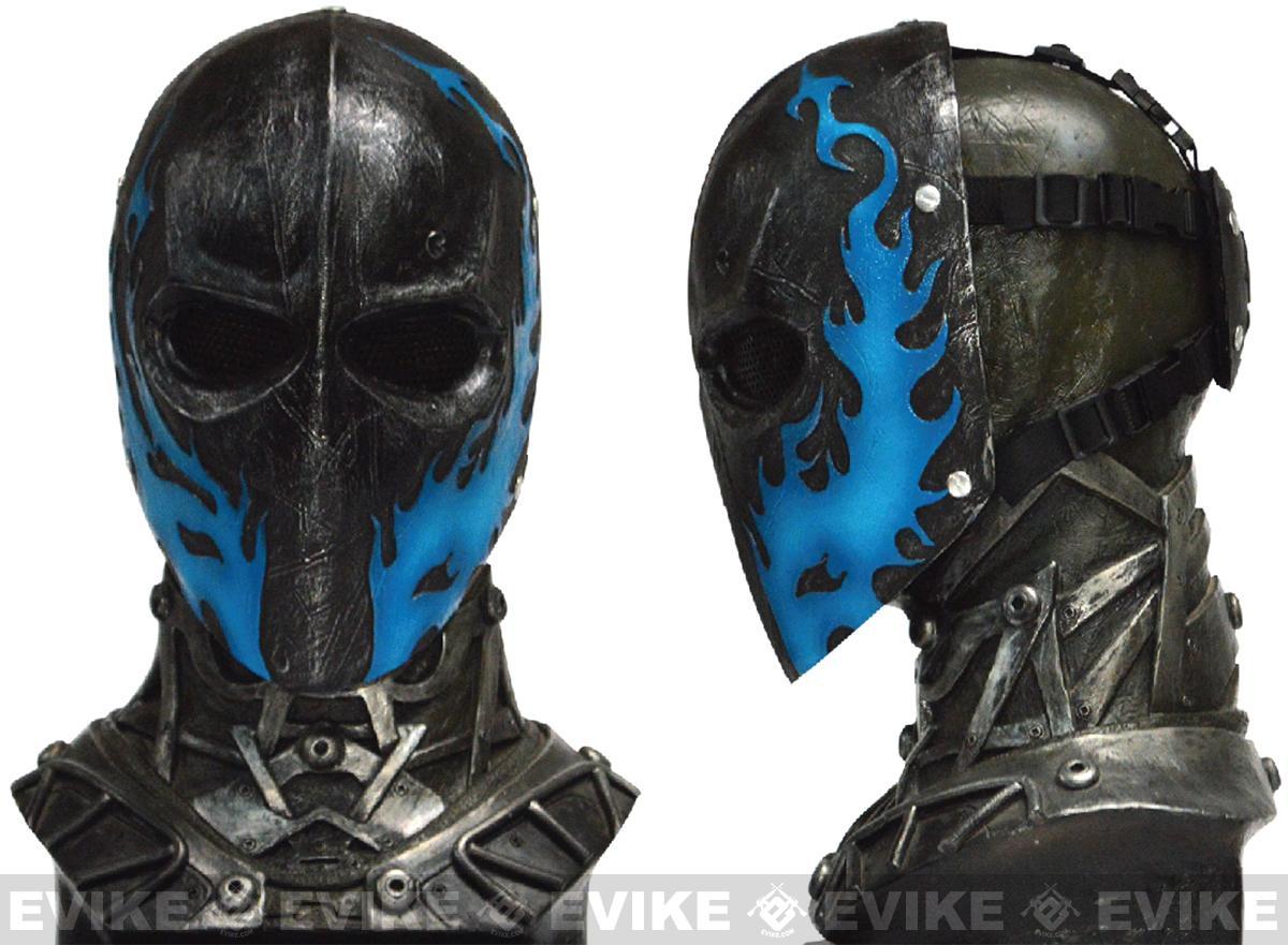 Evike.com R-Custom Fiberglass Wire Mesh Army 40D Mask - Blue Flames