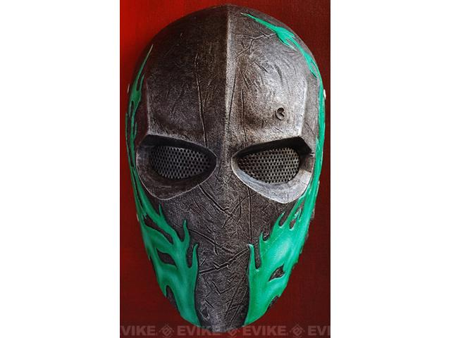 Evike.com R-Custom Fiberglass Wire Mesh Army 40D Mask - Green Flames