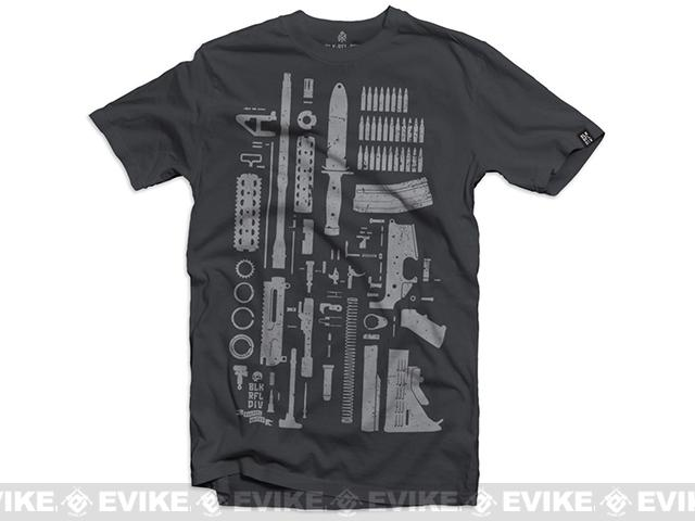 Black Rifle Division M4 Build T-Shirt  - Charcoal (Size: Large)