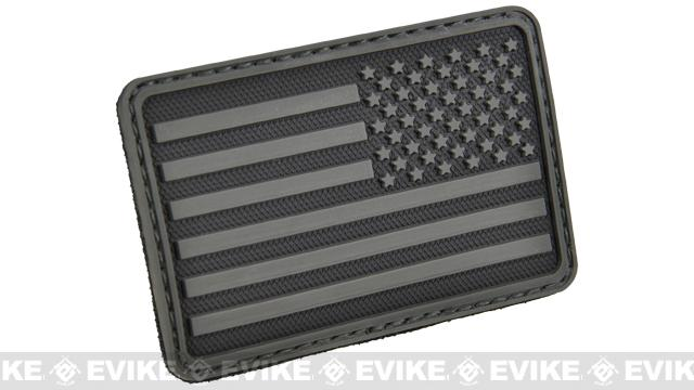 Hazard 4 US Flag Rubber Hook and Loop Patch (Style: Right Arm / Black)