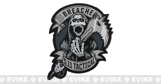 z 5.11 Tactical Breacher Embroidered Hook & Loop Morale Patch - Grey
