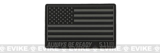 5.11 Tactical US Flag - Always Be Ready PVC Hook and Loop Morale Patch (Color: Black)