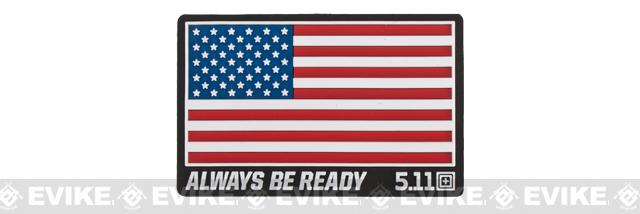 5.11 Tactical US Flag - Always Be Ready PVC Hoo & Loop Morale Patch (Color: Red, White, & Blue)