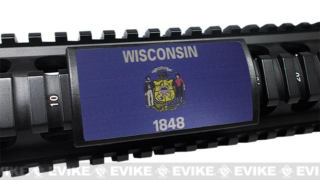 Custom Gun Rails (CGR) Large State Flag Aluminum Rail Cover (State: Wisconsin)