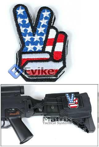 Evike.com US Flag / Peace Embroidery Hook and Loop Patch.