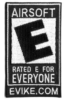 Official Licensed Evike.com Airsoft Rated E For Everyone Hook and Loop Patch