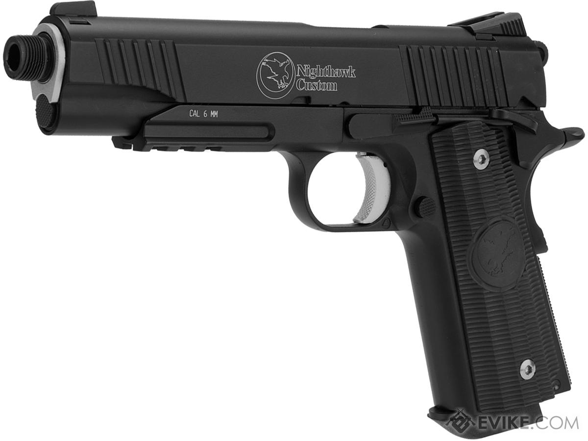 RWA Full Metal Nighthawk Custom Covert-Ops CO2 Powered Blowback Airsoft Pistol with Mock Suppressor