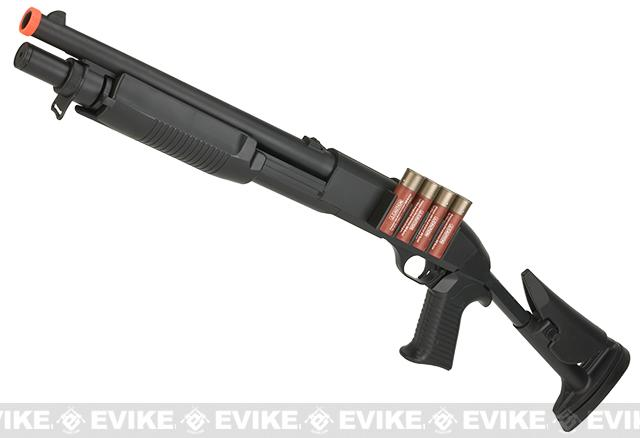 JG / AGM M3 Tactical Shell loading Airsoft Shotgun (Model: Retractable Stock CQB)