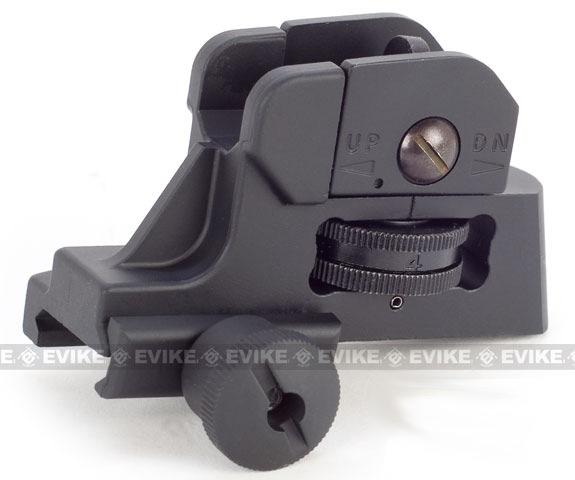 CQB-R Type QD Adjustable Rear Sight For M4 M16 Series Airsoft AEG Rifles (Color: Black)