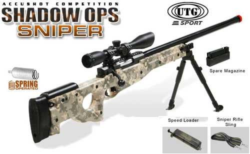 UTG Shadow Op High Power Type 96 Maruzen System Airsoft Sniper Rifle - ACU (Package: Add 3-9x40 Scope)