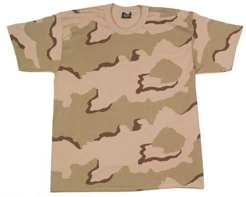 z Mens 3 Color Desert Poly Cotton Camouflage T-Shirt - Size: L
