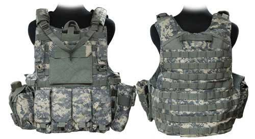 Black Owl Gear / Phantom CORDURA 1000 Denier Force Recon Tactical Vest Full Set (ACU / XL)