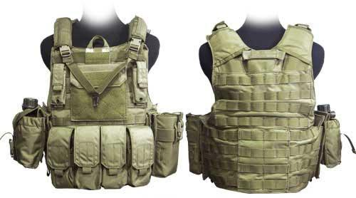 Black Owl Gear / Phantom CORDURA 1000 Denier Force Recon Tactical Vest Full Set (Color: Dark Tan / Large)