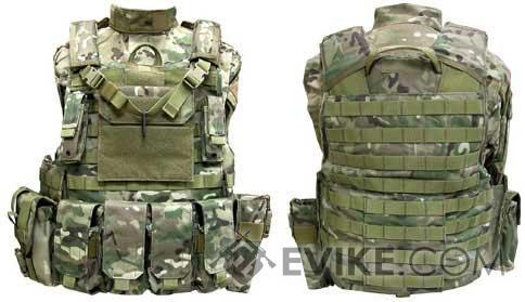 Black Owl Gear / Phantom CORDURA 1000 Denier Force Recon Tactical Vest Full Set (Multicam / Large)