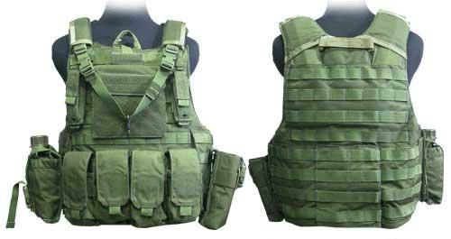Black Owl Gear / Phantom CORDURA 1000 Denier Force Recon Tactical Vest Full Set (Color: OD Green / Medium)