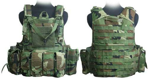 Black Owl Gear / Phantom  CORDURA 1000 Denier Force Recon Tactical Vest Full Set (Color: Woodland Camo / Medium)