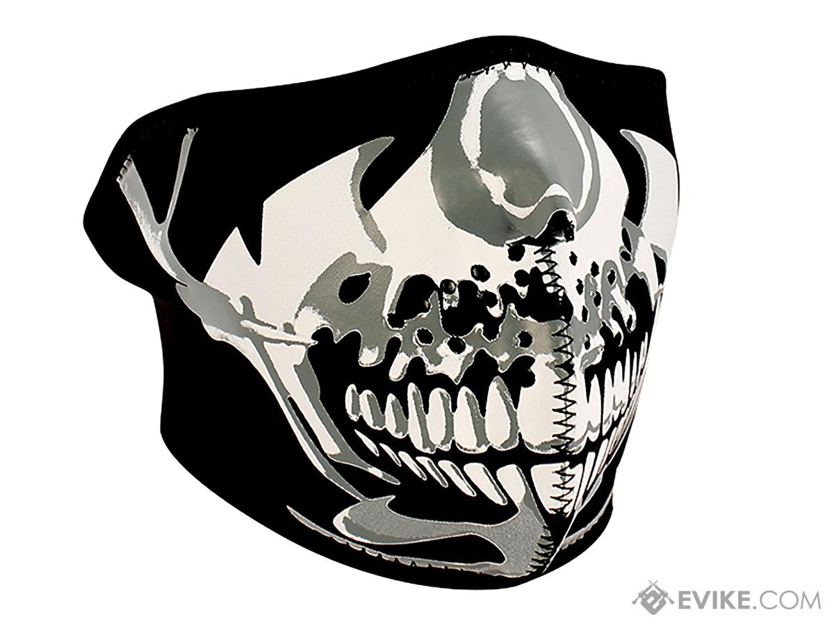 Zan Neoprene 1/2 Face Mask (Color: Chrome Skull Face)