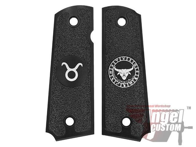 Angel Custom CNC Machined Tac-Glove Zodiac Grips for Tokyo Marui/KWA/Western Arms 1911 Series Airsoft Pistols - Black (Sign: Taurus)