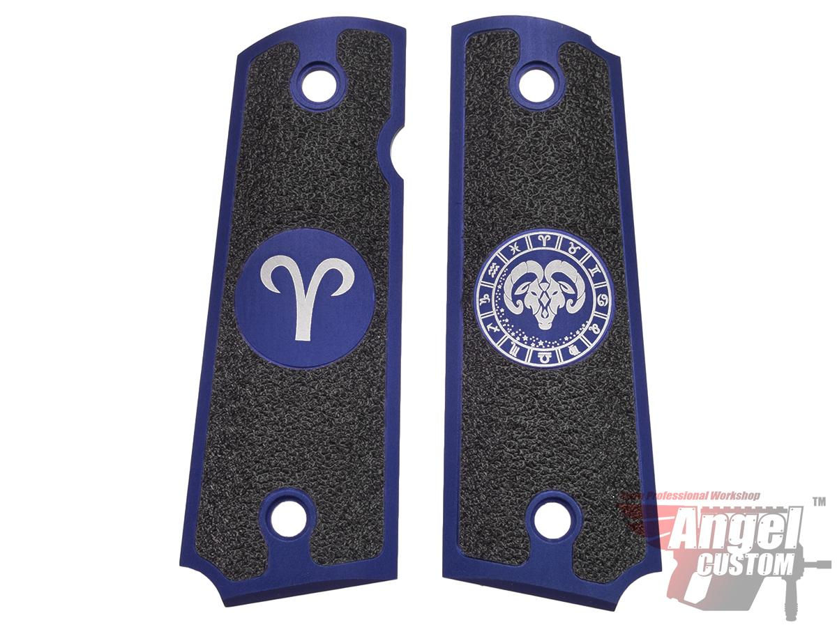 Angel Custom CNC Machined Tac-Glove Zodiac Grips for WE-Tech 1911 Series Airsoft Pistols - Navy Blue (Sign: Aries)