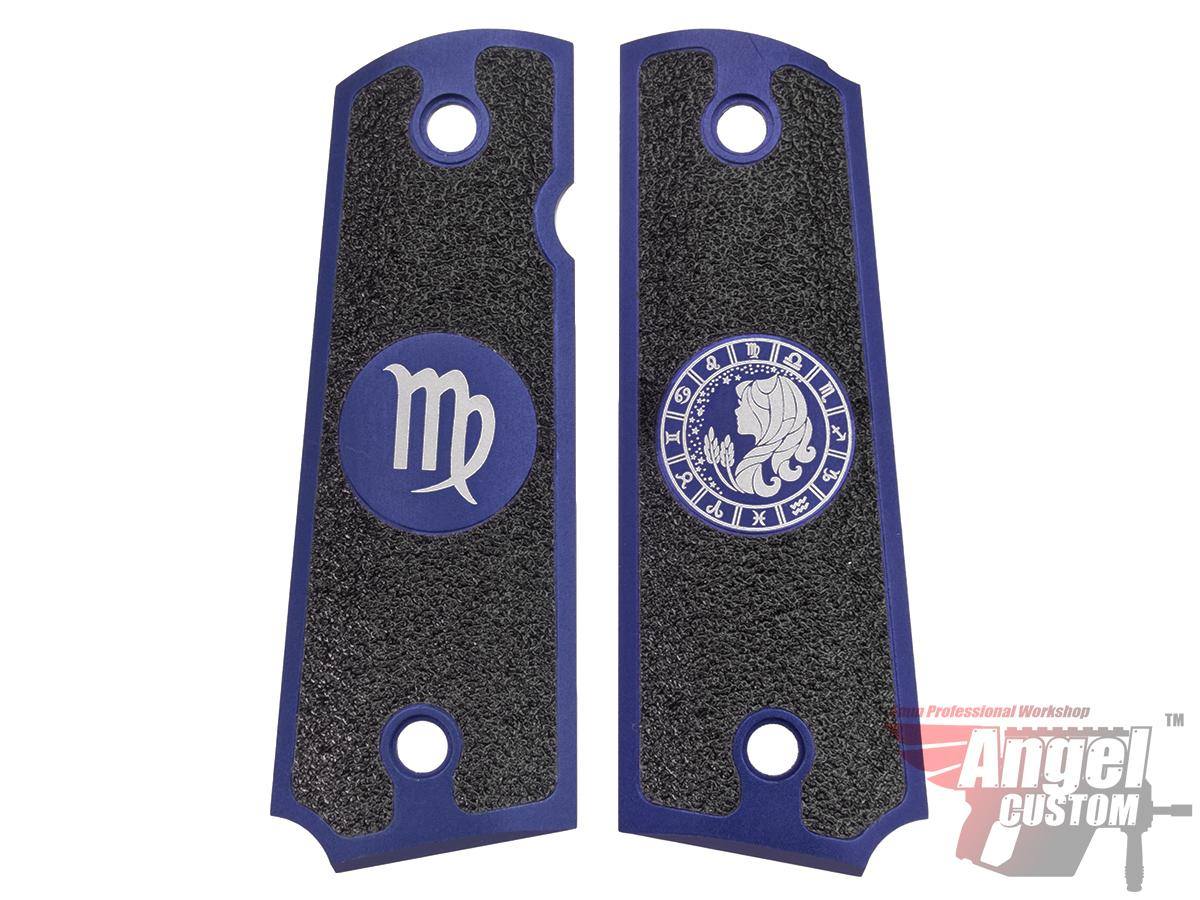 Angel Custom CNC Machined Tac-Glove Zodiac Grips for Tokyo Marui/KWA/Western Arms 1911 Series Airsoft Pistols - Navy Blue (Sign: Virgo)