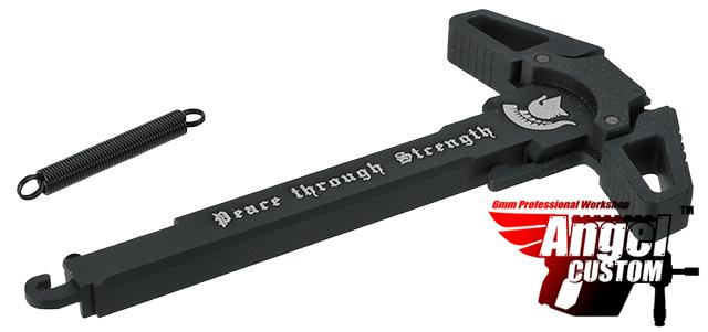 Angel Custom Swift Charging Handle for AR-15 M4 M16 Airsoft AEG Rifles (Logo: Black / Peace Through Strength)