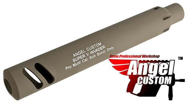 Angel Custom Super-V Invader Mock Silencer w/ Tightbore Inner Barrel for KWA KRISS Vector Airsoft GBB SMG - 500+ FPS (Color: Dark Earth / Short)
