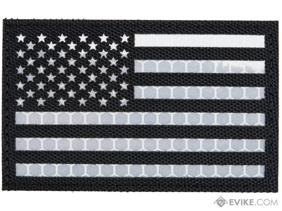Matrix Reflective US Flag Patch w/ Nylon Bordering (Color: Black / Left)