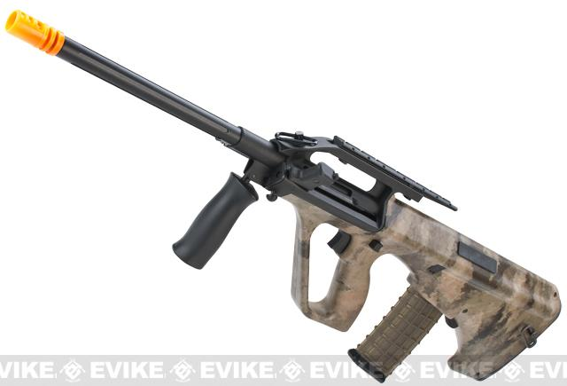 z Evike.com A-TACS Water-Transfer Custom AUG Alpha-1 Airsoft AEG Rifle w/ Fluted Outer Barrel