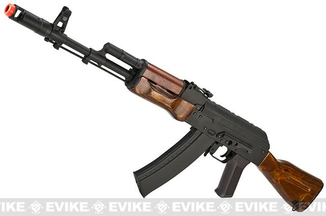 CYMA Custom Stamped Steel / Real Wood Full Size AK-74 Airsoft AEG - (Package: Add Battery + Charger)