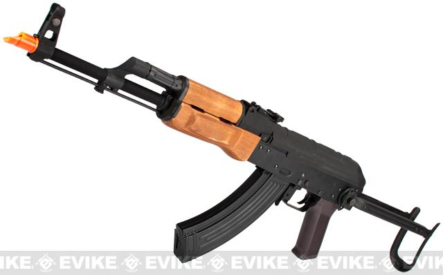 CYMA Full Metal AK47-S Airsoft AEG Rifle with Folding Stock - Real Wood (Package: Add Battery + Charger)