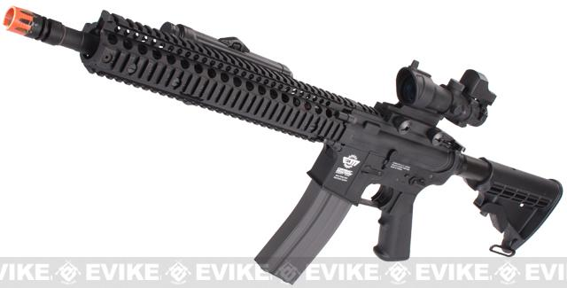 Evike Custom Class I G&G M4 Airsoft AEG Rifle - Daniel Defense 12 Black (Package: Add 9.6 Butterfly Battery + Smart Charger)