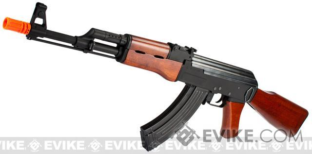 G&P Metal AK47 Airsoft AEG Rifle with Real Wood Furniture (Package: Add Battery + Charger)
