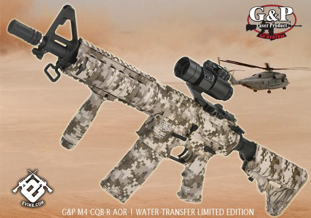 G&P M4 AOR-1 Desert Storm Special Edition CQB-R Airsoft AEG Rifle (Package: Add Battery + Charger)