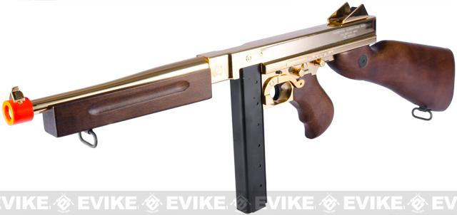 King Arms Thompson M1A1 Military Grand Special Edition Airsoft AEG Rifle (Color: 23K Gold Plated)
