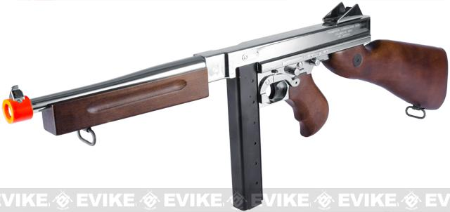 King Arms Thompson M1A1 Military Grand Special Edition Airsoft AEG Rifle (Color: Nickle Plated Chrome)