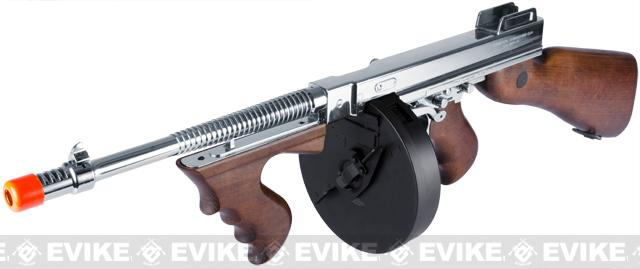 z King Arms Thompson M1928 Chicago Typewriter Airsoft AEG Rifle - Nickle Plated Chrome Limited Edition