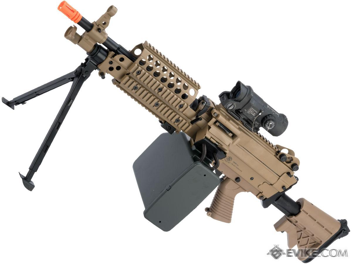 A&K / Cybergun FN Licensed M249 SAW Machine Gun w/ Metal Receiver (Model: MK46 / Dark Earth)