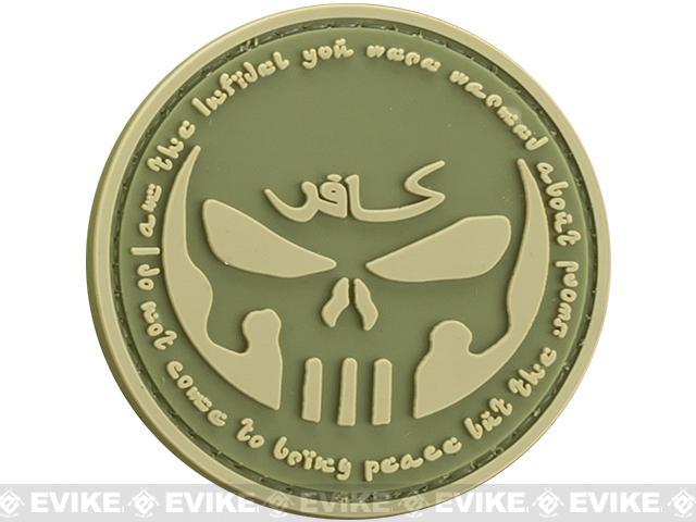 Infidel  Skull PVC Morale Patch - OD Green