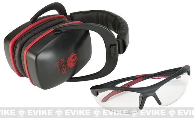 Sturm & Ruger Conix Ballistic Muff & Glasses Combo - Black/Red