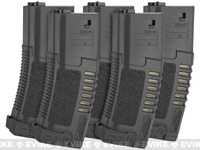 ARES Amoeba 140rd High Grade Mid-Cap Magazine for M4/M16 Series Airsoft AEG Rifles (Color: Black/Set of 5)