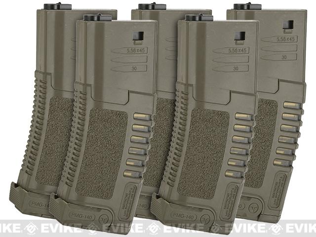 ARES Amoeba 140rd High Grade Mid-Cap Magazine for M4/M16 Series Airsoft AEG Rifles (Color: Dark Earth/Set of 5)