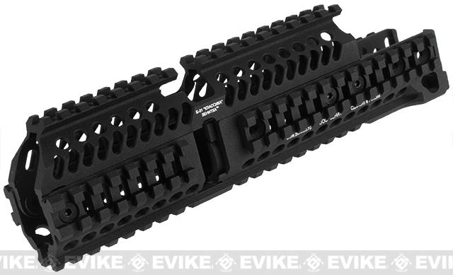 Asura Dynamics CNC Aluminum Full Length Tactical Quad Rail for AK AEG / GBB Rifles - Black