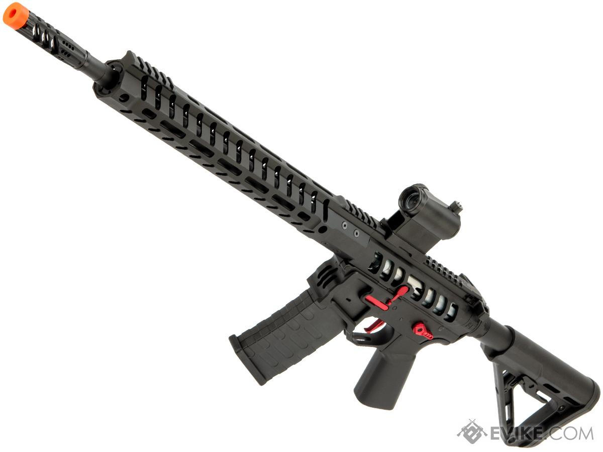 EMG F-1 Firearms UDR-15 AR15 2.0 eSilverEdge Full Metal Airsoft AEG Training Rifle (Model: Black & Red / RS3 Stock / 400 FPS)