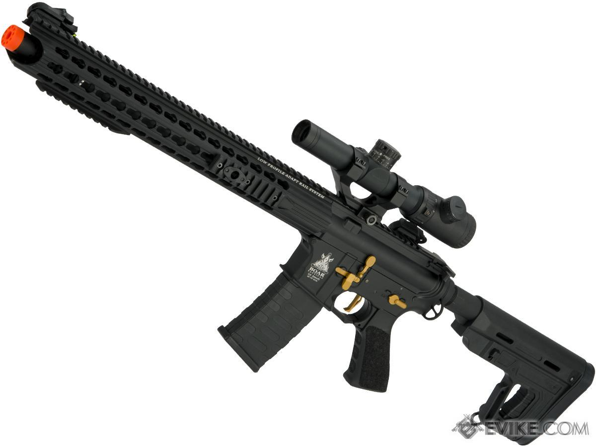 APS ASR-117 Boar Tactical 2.0 eSilverEdge 17 KeyMod Airsoft AEG (Color: Black And Gold / RS1 Stock)