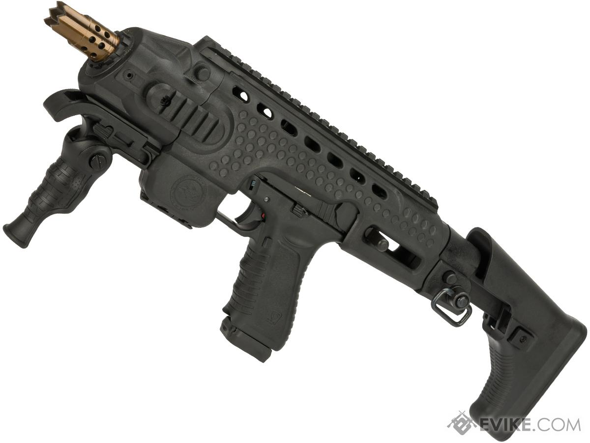 APS Action Combat Carbine Complete Gas Blowback Airsoft Compact SMG Rifle (Model: Black)