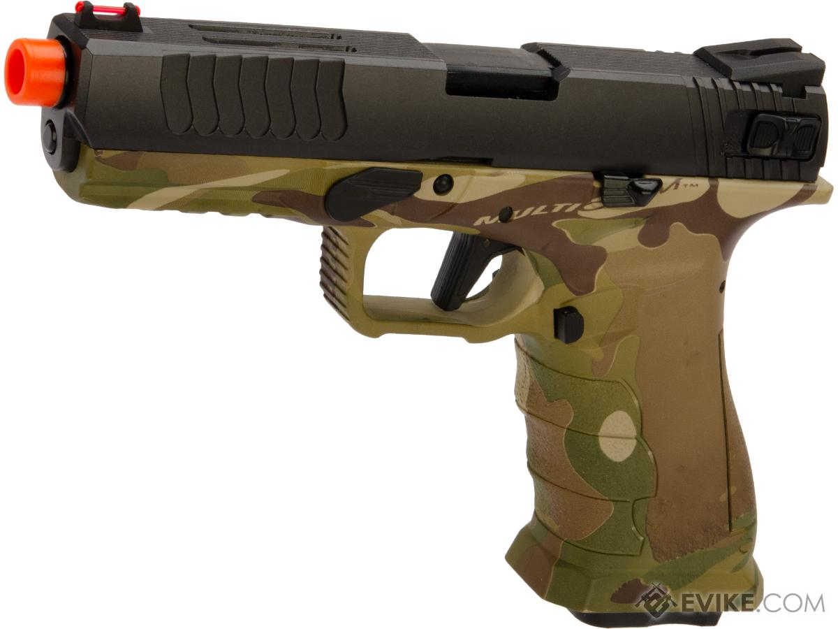APS XTP Shark Full Automatic Select-Fire Full Metal Co2 Gas Blowback Airsoft Pistol (Color: Two-Tone Black + Multicam / Standard)