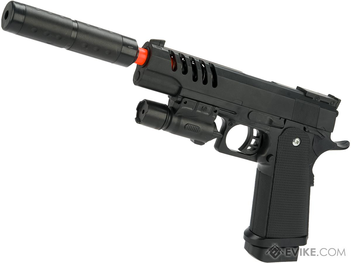 JG Polymer Single Shot Airsoft Spring Gun Armory Series (Model: Ported Hi-CAPA Pistol with Barrel Extension)