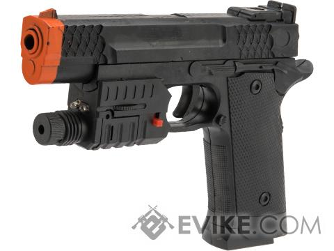 JG Polymer Single Shot Airsoft Spring Gun Armory Series (Model: 716 Mini Pistol w/ Laser Unit)
