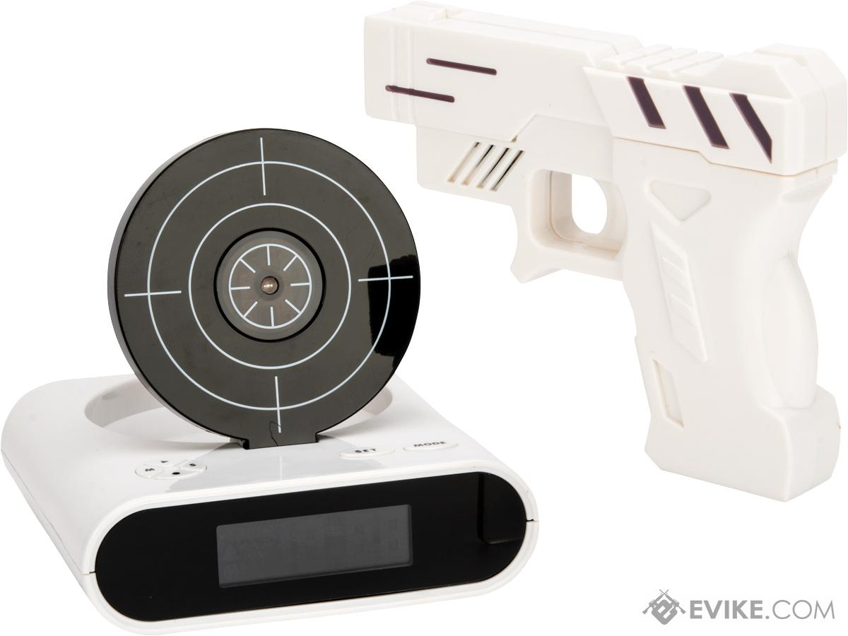 Gun And Target Recordable Alarm Clock (Color: White)