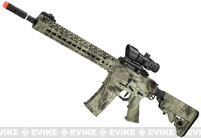 APS ASR115 Full Metal 12.5 M4 AR15 Airsoft AEG EBB Rifle w/ Silver Edge Gearbox (Color: Kryptek Highlander)